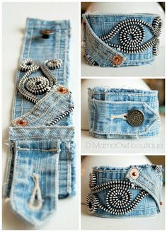 Upcycled Recycled Denim Cuff Bracelet Zipper von DMamaOwlBoutique - Informations About Upcycled Recy Diy Jeans, Recycle Jeans, Upcycle, Jean Crafts, Denim Crafts, Textile Jewelry, Fabric Jewelry, Jewellery, Fabric Bracelets