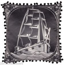 Sourpuss Clipper Ship Throw Pillow- Pinup Flash Tattoo Rockabilly Nautical Retro