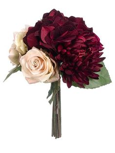 Boho Wedding Ideas. Get hassle free wedding bouquets for your big day. This artificial bridal bouquet is made of silk hydrangeas, silk roses, and a silk spider dahlia in marsala, burgundy, and mauve. Marsala hydrangeas, matching spider dahlia, and soft mauve roses create a colorful, dramatic contrast perfect for a bohemian fall wedding!