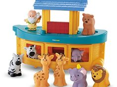 Noahs Ark Little People Fisher Price Playset. Noah's Ark has animals for toddlers to discover nature. Noah built himself a floating zoo with lots of animals, two by two. Deck removes for play inside Noah's Ark. Toddler Toys, Baby Toys, Kids Toys, Toddler Gifts, Boy Toddler, 80s Kids, Baby Baptism, Christening Gifts, Baptism Gifts