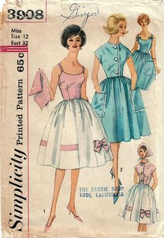 1960s Simplicity 3908 Vintage Sewing Pattern Misses Sundress