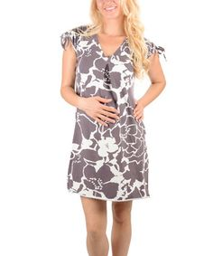 Loving this Gray & White Floral Maternity V-Neck Dress on #zulily! #zulilyfinds