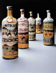 """Sandscape Bottle """"Absolut Delvoye"""" by Belgian artist Wim Delvoye for the campain in (©Wim Delvoye Absolut Vodka, Bacchus, Ad Art, Vodka Bottle, Drinks, Collaboration, Artworks, Om, Advertising"""