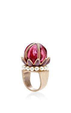 Burgundy Fantasia Flower and Pearl Ring by Gripoix