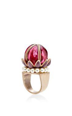 Burgundy Fantasia Flower Ring by Gripoix for Preorder on Moda Operandi