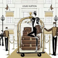 If you're in Paris and you need to pick up your latest purchase from @louisvuitton then why don't you just glide there on a brass luggage cart! it's the chic thing to do. #LouisVuitton #TheSpiritOfTravel