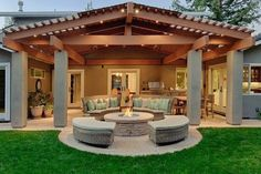Diy Pergola, Deck With Pergola, Patio Roof, Patio Bar, Pergola Ideas, Backyard Covered Patios, Covered Patio Design, Stone Patio Designs, Outdoor Patio Designs