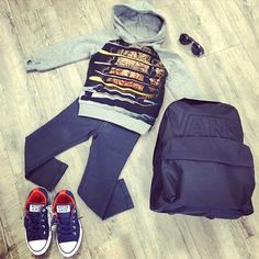 BOYS PICK OF THE WEEK!! @munsterkids Jumper and Ramones Jeans, @Converse No Time To Lace slip on's, @frankieraykidsshades sunnies and a classic @vans backpack!!