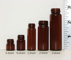 Info on essential oil containers, equivalents for drams, milliliters, ounces, cups, tablespoons, teaspoons, and drops
