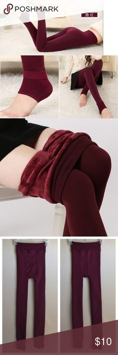 """Hyoty OS XXS XS S M Fleece-Lined Leggings Hyoty OS XXS XS S M Fleece-Lined Leggings Red Wine Maroon Leggings Footless Tights    840002147866    Condition: Like NEW    These leggings come with a fleece lining for extra insulation on extra chilly days and nights. Extended cuffs at the legs ensure coverage to your feet. Wear thick socks for added warmth.  Length: 35.4""""  Waist: 21.25-40""""  Material: Polyester Hyoty Pants Leggings"""