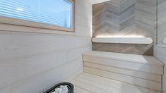 Asuntomessujen 2020 saunanostot ja saunatrendit – Saunologia.fi Bathroom Styling, Scandinavian Style, Tile Floor, Blinds, Bathtub, Curtains, Flooring, Home Decor, Standing Bath