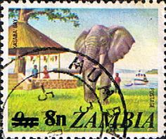 Postage stamps of Zambia 1979 SG 279 African Elephant, Kasaba Bay Fine Used Scott 155  Other Zambia Stamps HERE