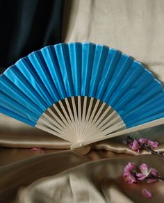 turquoise silk folding fan