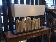 Nature rectangular table lamp with bark wood