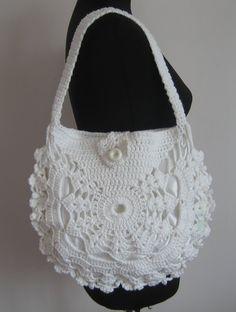Items similar to Ladies crochet summer handbag / White summer bag/ Purse on Etsy Crochet Tote, Crochet Handbags, Crochet Purses, Bead Crochet, Crochet Gifts, Crochet Baby, Crochet Summer, Summer Handbags, Summer Bags