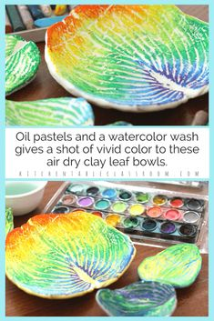 These pretty little leaf bowls are deceivingly easy to make. They use an air dry clay recipe that needs only a few household ingredients and some big beautiful leaves. Add some color with oil pastels and watercolors and you've got a leaf bowl pretty enough for a gift.