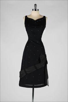 vintage 1950s dress . black rhinestone . by millstreetvintage