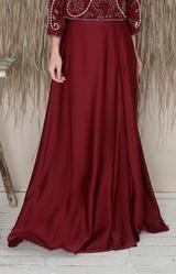 Sarena Skirt - Burgundy – Folkster Bridal Stores, Beaded Top, Black Tie, Get The Look, Midi Skirt, Burgundy, Draping, Female, Elegant
