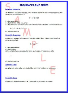 This is a one page document that summarizes arithmetic and geometric sequences and series. All of my math summary sheets can be found in one PDF file. Algebra 2 Worksheets, Printable Math Worksheets, Math Teacher, Teaching Math, Maths, Sequence And Series, Math Writing, Math School