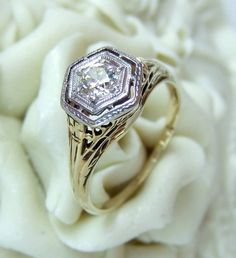Antique 1920's Two Tone Art Deco Diamond Engagement by jamandtoast/etsy