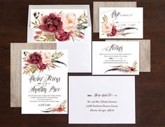 Bohemian Floral Wedding Invitations by Emily Crawford | Elli