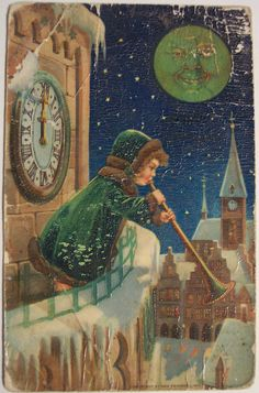 Vintage New Year Postcard~green moon♥ Vintage Christmas Images, Victorian Christmas, Retro Christmas, Vintage Holiday, Christmas Pictures, Christmas Art, Vintage Images, Xmas, Vintage Happy New Year