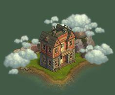 """social game """"klondike"""" on Behance Social Games, Old West, Big Ben, Behance, Concept, Landscape, Apps, Buildings, Stage"""
