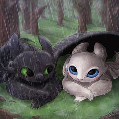 Things we do for love. Painted this for Discover Your Duo Contest I was so happy that Toothless found a partner . Night Fury x Light Fury Httyd Dragons, Cute Dragons, Cute Disney Drawings, Cute Animal Drawings, Cute Disney Wallpaper, Cartoon Wallpaper, Toothless Wallpaper, Night Fury Dragon, Dragon Light