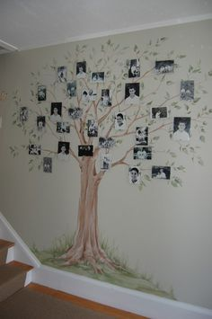 Hall painting is one of the latest trends in home decor. Here are our 15 simple and latest hall painting design ideas in Family Tree Mural, Family Tree Photo, Picture Tree, Family Tree With Pictures, Family Wall Art, Photo Tree, Family Photos, Tree Wall Painting, Tree Wall Murals