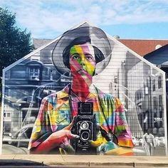 street art Eduardo Kobra in 1650 W North Ave, Chicago, MI