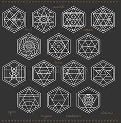 Set of geometric hipster