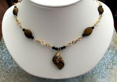 14kt gold filled wire and Tiger Eye handmade necklace ~ $65.00  #ibhandmade
