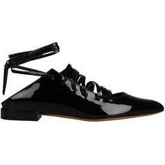 Givenchy Patent leather flats ($934) ❤ liked on Polyvore featuring shoes, flats, givenchy, nero, flat pumps, ankle tie flats, patent leather flats, black flat shoes and ankle strap flats