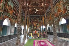 Damrey Sor Pagoda in Batambang, Cambodia, Crumbling on the Outside, Has Been Completely Restored Inside.