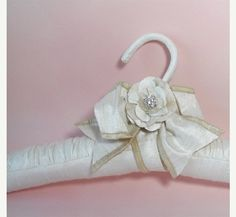 Wedding Hanger Off White Silk Flower.
