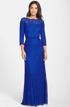 Tadashi Shoji Illusion Lace Gown (Regular & Petite) available at #Nordstrom-Pink Opal or Lapis-$388.00
