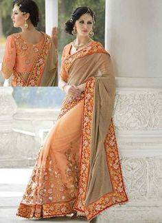 Awesome Brown And Peach Half N Half Net Designer sarees