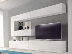 Home theaters minimalista Salones modernos - Muebles Capsir - Living room Lcd Wall Design, Tv Wanddekor, Small Media Rooms, Living Room Tv Unit Designs, Modern Tv Wall Units, Rack Tv, Media Room Design, Muebles Living, Tv Wall Decor