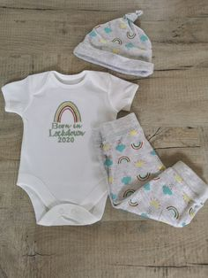 Sleepsuit in White Embroidered See Thread Chart Thread 0-3 Months Personalised Born in Lockdown Other