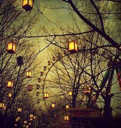 Carnival :: Vintage Lomo Photograph Ferris Wheel at Dusk