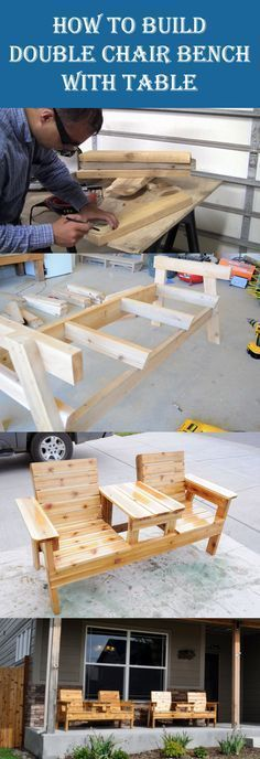 DIY Double Chair Bench with Table