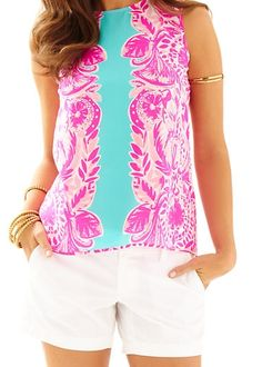 Lilly Pulitzer Iona Sleeveless Silk Shell in Pop Pink Tropical Dreams Engineered