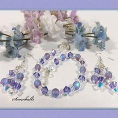 Tanzanite Swarovski Crystal Bracelet Set Dangle by loviebeebaubles, $45.00