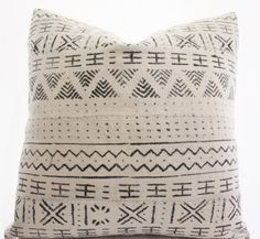 African White Mudcloth Pillow Cover, Ethnic, Textile, Handwoven, Various Sizes
