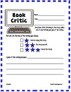 FREE book critic printable- more critical thinking than my other book report forms. Reading Strategies, Reading Activities, Reading Skills, Teaching Reading, Free Reading, Reading Comprehension, Learning, Comprehension Strategies, Literacy Activities