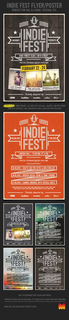 """Buy Indie Fest Flyer / Poster by moodboy on GraphicRiver. """"Indie Fest Flyer/Poster"""" – This flyer/poster was designed to promote music event, such as a gig, concert, fest. Flyer And Poster Design, Poster Layout, Flyer Design, Layout Design, Print Design, Poster Ideas, Vintage Typography, Graphic Design Typography, Shops"""