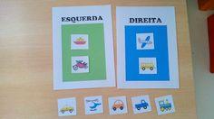 Reconhecimento de direita-esquerda: colocar os meios de transporte no lado correto, de acordo para onde estão virados (em crianças leitoras não utilizar identificações escritas).