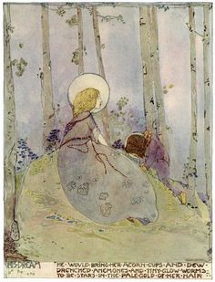 """¤ Jessie M. King (Scottish, 1875-1949). The Dwarf's Dream. Illustration from """"The Birthday of the Infanta"""" by Oscar Wilde."""