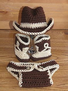 Newborn Baby Crochet Cowboy Hat, Boots & Diaper Cover Photo Prop.