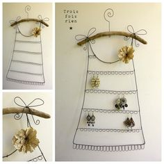 Porte boucles d'oreilles fil de fer N° 24, robe fil de fer, trois fois rien